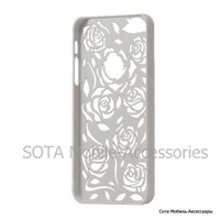 Carving Hollow Flower Rose Hard Case Cover for iPhone 5 - White