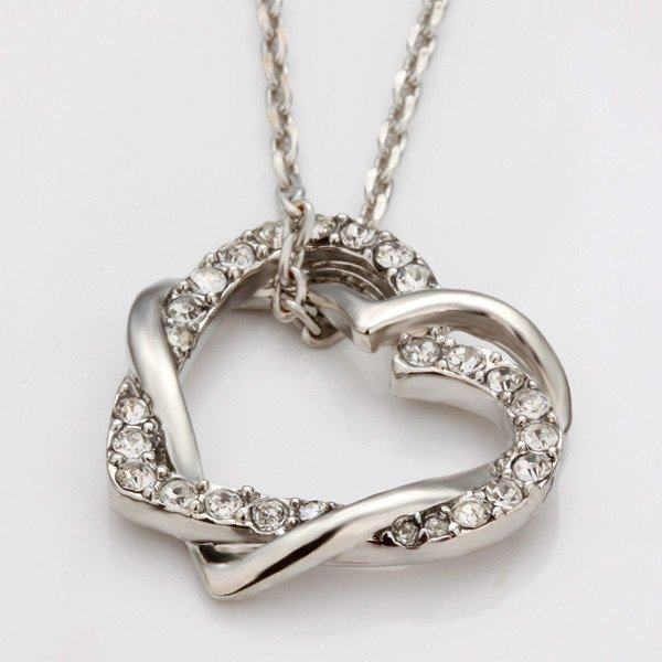 18KGP N006 Two Hearts Jewelry 18K Gold Plated Plating Platinum Necklace Nickel Free Rhinestone Austria Crystal SWA Elements