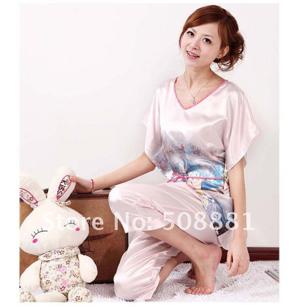 Free shipping Brand new silk round collar sleepsets  Dream Angel women pink sexy silk sleepwear silk garments 3pcs/lot