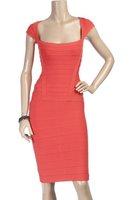 Последнее повязку платье hl006 дамы сексуальный плечо cap оранжевый цвет вечер выпускного вечера коктейль платья
