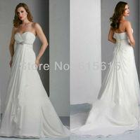 New Custom-made Sweetheart White A-Line Ruffles Beading Chiffon Corset Wedding Dresses