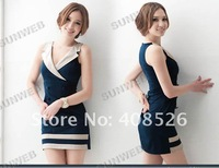 Женское платье Women's summer New Goddess Double-breasted sleeveless Vest Y Neck mini Dress 2330