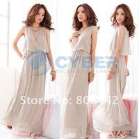 Fashion Women's Princess Bohenmia Style Pleated Wave Lace Strap Chiffon Maxi Long Dress 3Sizes Free Shipping