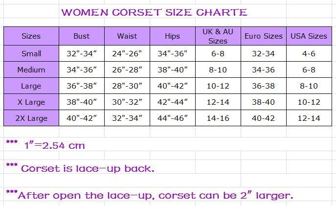 Размеры Корсетов