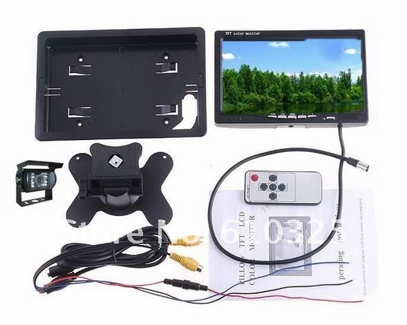 "7""Car rear view system,Parking assistance kit,backup system work with parking sensors for retail/set free shipping!"