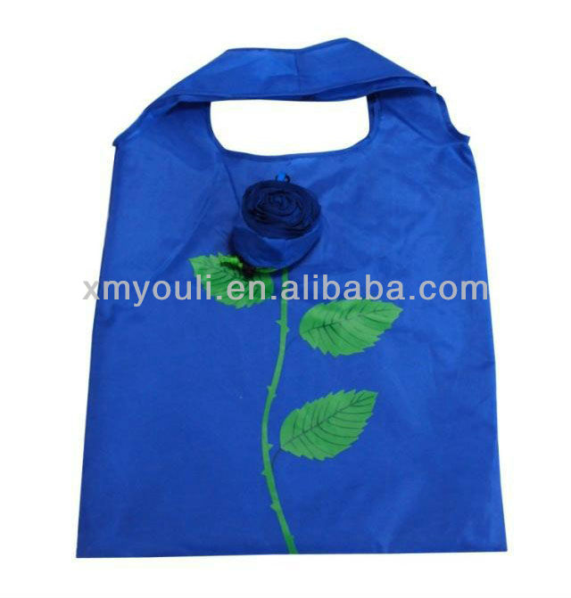Rose cheap folding shopping bag