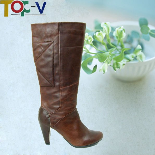 Brown Suede Upper Fashion Women Long Boots