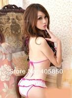 Сексуальная ночная сорочка Sexy Lingerie pink bra+, g string set sleepwear, sexy lingerie, sexy uniform, sexy kimono, sexy costume
