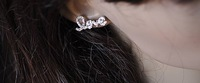 Серьги-гвоздики Min.order is $10 NEW! 11A18 Fashion rhinestone love earrings