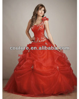 Платье на студенческий бал QDT-01 Popular Corlorful Sexy One-shoulder Drapped Beads Crystal Quinceanera Dress 2013