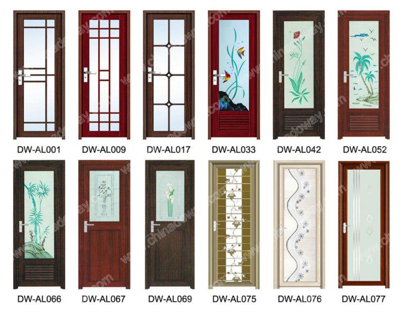 Cheap aluminum alloy interior full glass bathroom door for Aluminium bathroom door designs