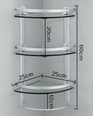 2020 Aluminum 3 Tier Glass Shelf Shower Holder Bathroom ...