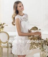 Свадебное платье Hotsale New Style Cap Sleeve Custom Made Latest Elegant Puffy Mini Short Wedding Dress 2013 wzy175