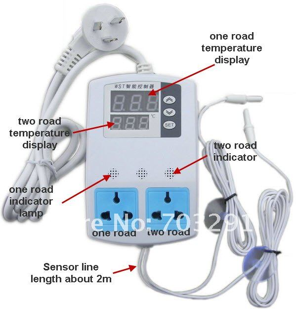 Plug in Digital Room Double road temperature Controller
