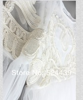 Женское платье 2013 Runway Fashion Greek Goddess Flower Embroidery High Waist Fairy Gauze White Dress Skirt