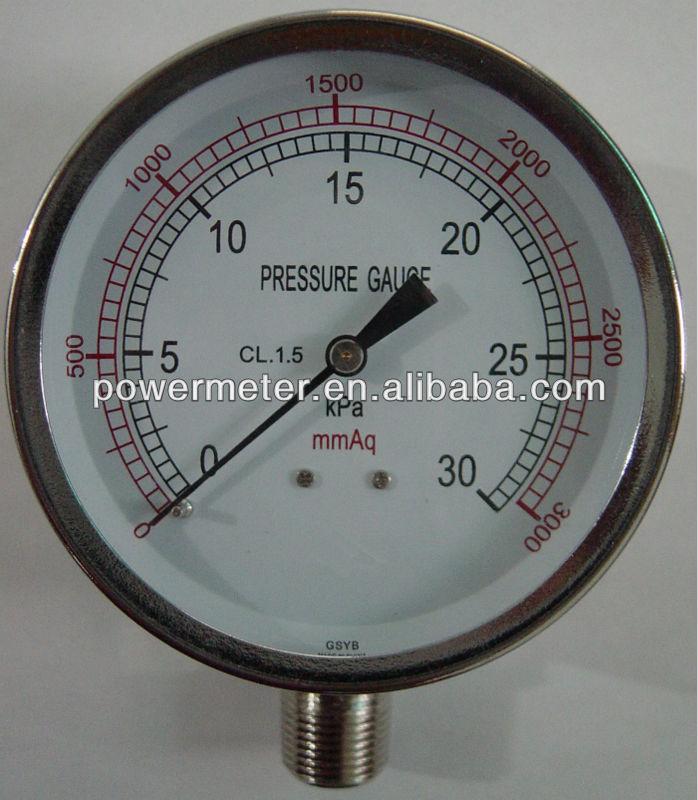 ( ye-- 75) 75mm والنيكل مطلي بالكروم حالة اتصال قياس ضغط الحجاب الحاجز