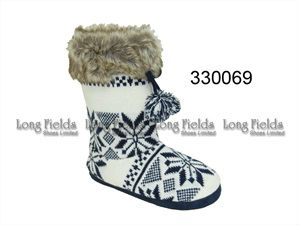 Ladies Fluffy Fur Knitting Warm Boots