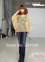 Женские блузки и Рубашки Champagne gold disc flowers Embroidery Crochet drawstring cloak bat T-shirt blouse, ladies blouses, womens blouses women garment
