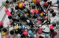 Ювелирное украшение для тела mix colors 100pcs/lot print ball piercing tongue bar tongue ring tongue barbell