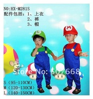 Рекламный костюм super mario clothes children's cosplay clothing jumpsuit +hat classic Halloween costome Retail