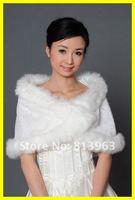 Free Shipping Winter White Faux Fur Pearl Shrug Cape Stole Wrap Shawl Wedding Bridal