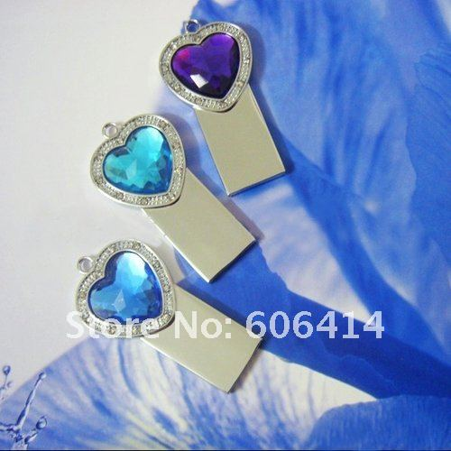 FREE SHIPPING+drop shipping retail genuine capacity 4G 8G 16G 32G crystal heart diamond keychain shape usb flash drive