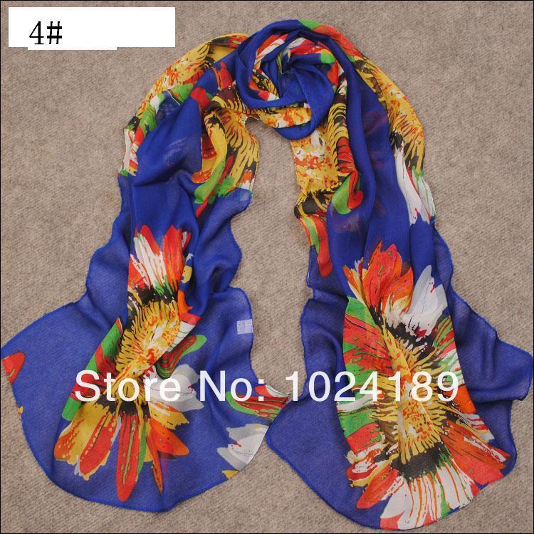 new 2016wholesale women scarf /100% pure silk  chiffon large floral shawl /winter scarves shawls160*50cm scarf wholesale women
