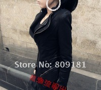Oblique zipper woman Short jackets Slim locomotive Leather Coat