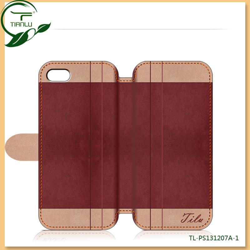retro luxury pu leather case for iphone 4 4s 5 original new arrival fashion custom logo/flip design free screen protector