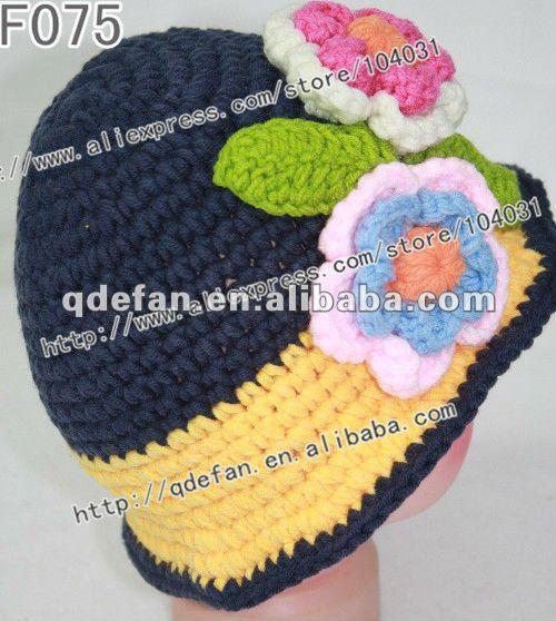 Venta al por mayor 100% del ganchillo del algodón niña sombreros ...