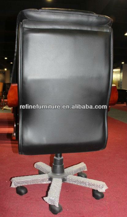 Noir pu bureau en cuir chaise en bois accoudoir bras en for Meuble alibaba montreal