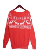 Женский пуловер FASHION ON MOON CHIC CREW NECK SNOWFLAKE MUSK DEER PATTERN SWEATER 16230