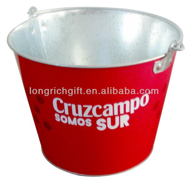 Promotionnel Logo Imprimé En Métal Galvanisé Seau À Glace pour la bière