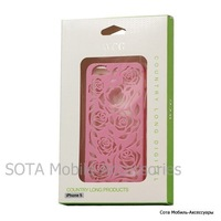 Carving Hollow Flower Rose Hard Case Cover for iPhone 5 - Pink