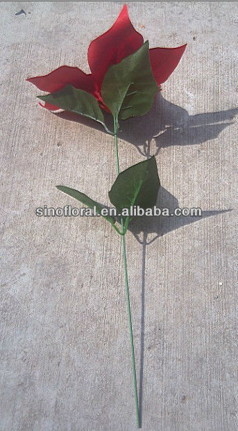 artificial poinsettia flower single stem