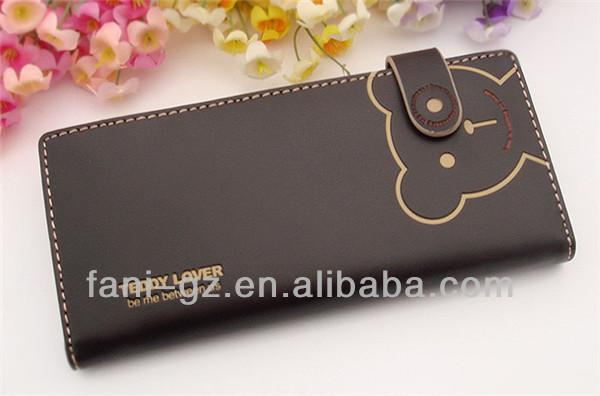 Fani bear print long flat wallets with pu