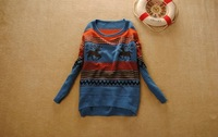 Женский пуловер 2012, Hot Sell women's loose style Striped pullover women sweater