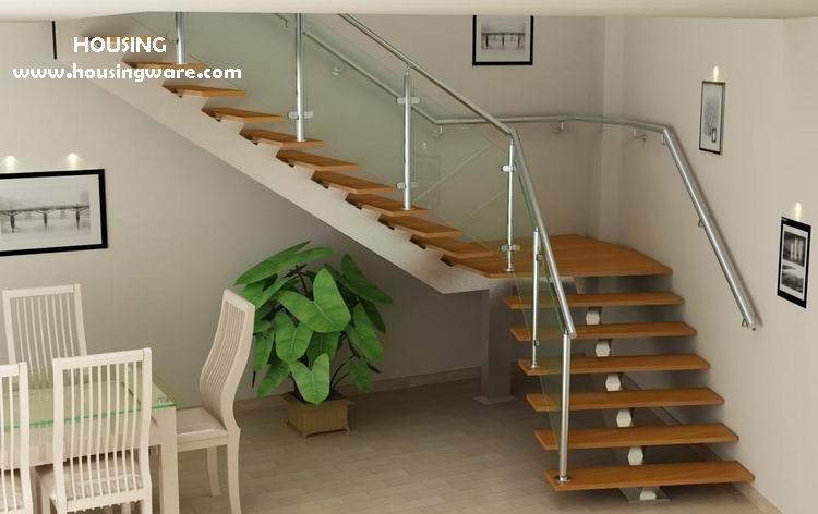 Moderna escalera con en forma de l barandilla de vidrio - Barandillas escaleras modernas ...