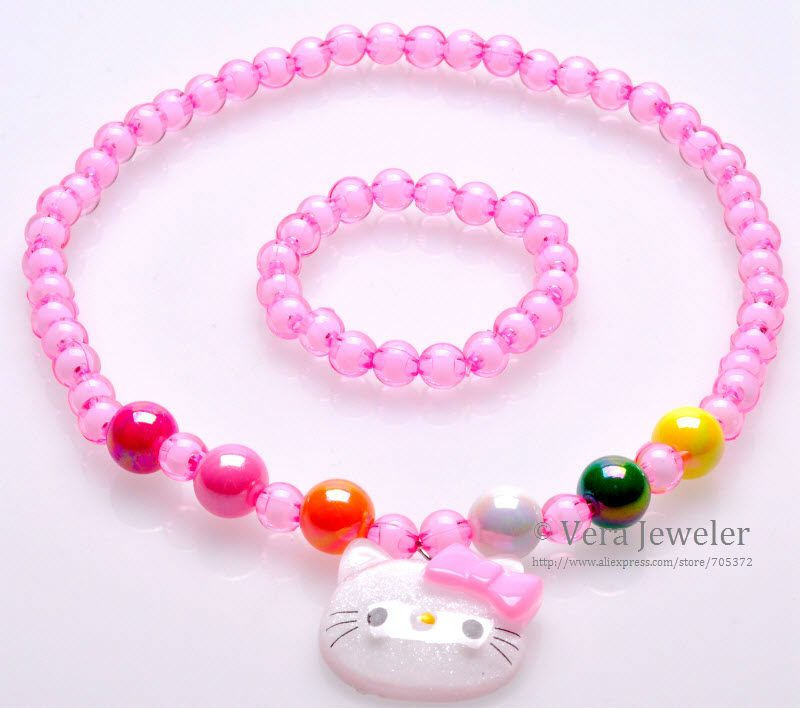 FKJ0103 800  New Arrivals! Children Jewellery Set Jelly Hello Kitty Pendant Crystal Clear Beaded Necklace Bracelet Jewelry Set 3 Colors Wholesale 24sets lot  (3)