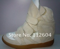 Женские кеды CPA Top quality Women's ISABEL MARANT beige cowhide Sneaker casual Height Increasing shoes boots 36-41