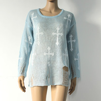 SW01 LOOSE Gothic Cross Distressed Frayed Jumper Hole Knitwear Sweater White (Last one in stock)