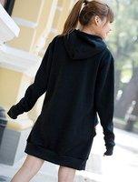Женские толстовки и Кофты Stylish Loose Zipper Skull Print Hooded Long Coat Black/White