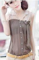 Free shipping ! 2012 summer women's clothing , Ms. sleeveless chiffon shirt , ladies summer tops