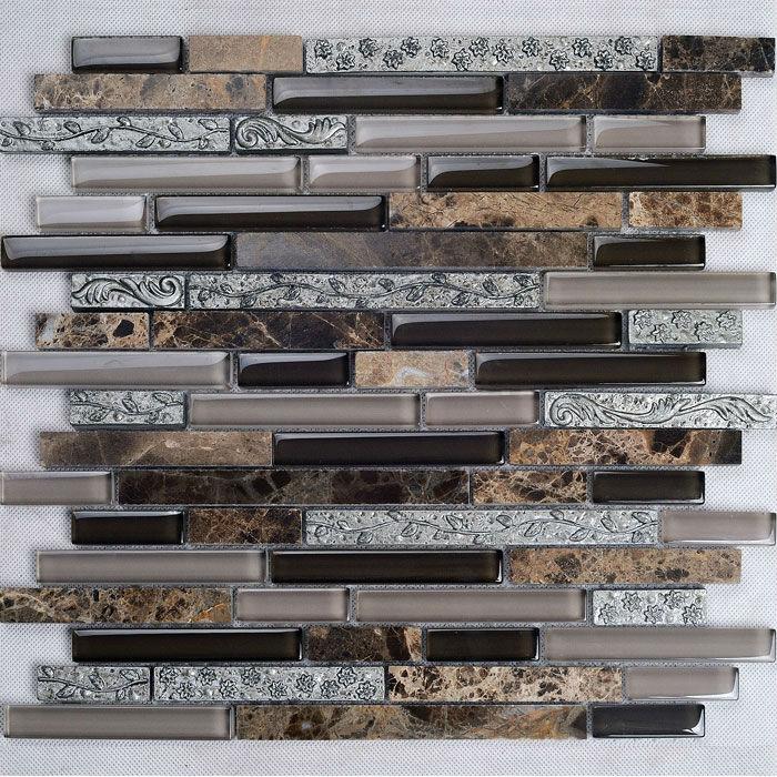 metal tile backsplash kitchen design colors crystal glass stone blend