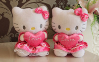 18 cm plush cat toy pink suffed hello kitty in dress with heart, 12 pcs/lot wholesale cheap plush cartoon hello kitty