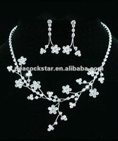 Ювелирный набор Bridal Wedding Party Quality Crystal Flowers Necklace Earrings Set CS1040