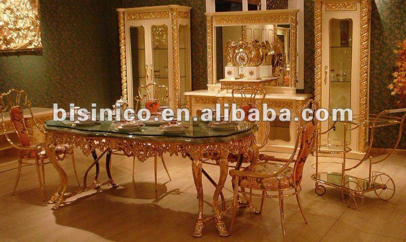Luxe italie style 24 k plaqu or cuivre salle manger for Salle a manger de luxe en bois