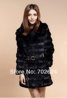 Женская одежда из меха women's faux rabbit fur fox fur wool medium-long overcoat plus fur coat WHITE/BLACK size:S/M/L/XL/XXXL