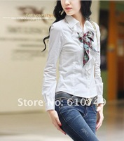 Free shipping 2012 New arrival Spring Couture shirt court Vintage collar lace quality long-sleeved shirt + Include a Bow