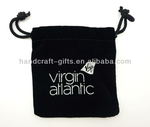 Custom High quality silk screen printing logo on the velvet gift bag